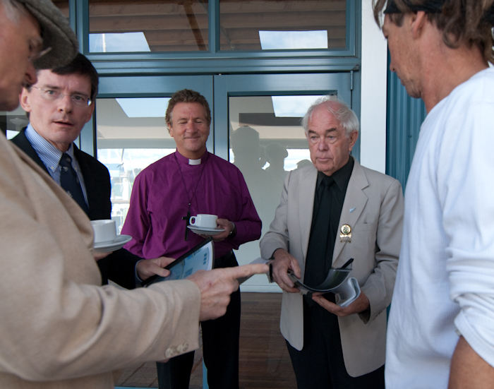Tom Sturgess, Hon Chris Finlayson, Bishop Richard Ellena, Mayor Kerry Marshall, artist Chris Finlayson