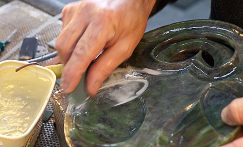 Pounamu (greenstone) carvers