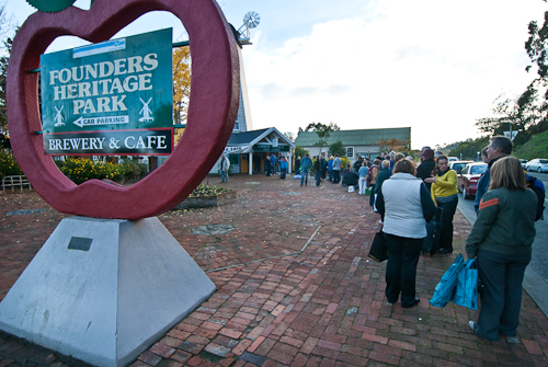 Queue building up at Nelson's Founders Heritage Park Book Fair